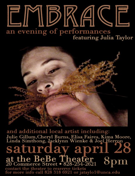 "'Embrace"" flyer for performance"